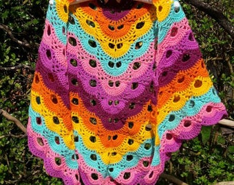 Multicolour crochet shawl / wrap | Virus shawl | Triangular shawl | Vibrant colours | Gift for her | Purple/pink/orange/turquoise