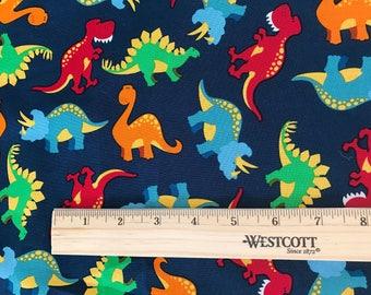 Blue Red Green Orange Dinosaur  Fabric By the Yard, Half Yard, or 1/4 yard