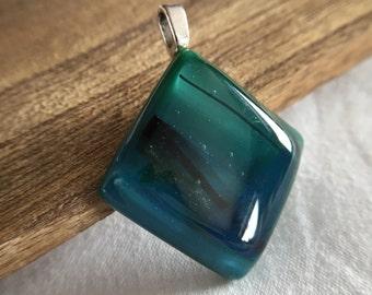 Green, Blue Fused Glass Pendant