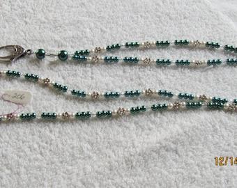 Lanyard, Green/White Pearls