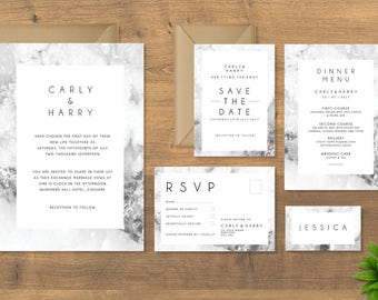 The Marble Wedding Collection, Save the Date, Wedding Invitation, RSVP, Order of Service, Wedding Dinner Menu, Table and Number Cards