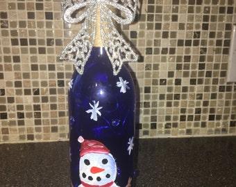 Snowman Wine Bottle Lights