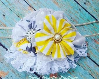Shabby Chic fabric flower headband embellished with pearls, Shabby chic headband, Shabby chic hair clip, Fabric flower accessory