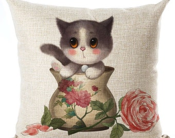 Small Kitty Cat Pillow Cushion Beige  Throw Pillow Cover Kids Room Decor Nursery