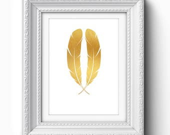 Gold Feathers Print, Gold Feather Art, Feather Printable, Feather Wall Art, Gold Feather Art, Gold, White, Feather Home Decor, Wall Art