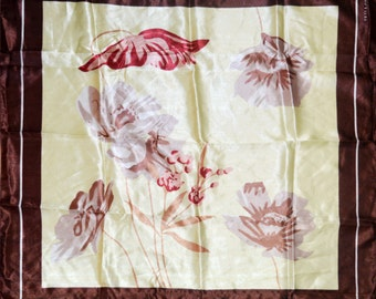 Vintage Ted Lapidus scarf flowers brown beige 73 cm/28.7 in