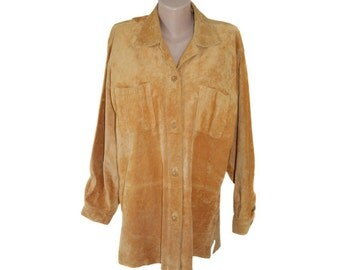 Vintage Compagne women shirt brown genuine leather pig suede