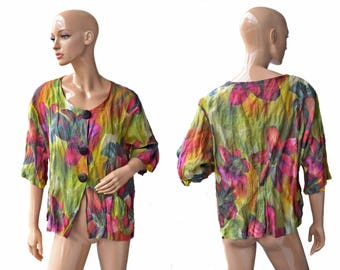 Vintage Hopsack ® women shirt top blouse colorful cotton metall big buttons  Made in Germany