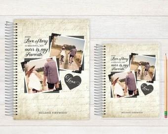 Wedding Journal, Wedding notebook, custom Wedding journal, Personalized Bridal journal, Personalized journal, vintage love story