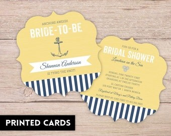 Bridal Shower Invitations, Bridal Shower Invitation, Personalized, Shower Invites, yellow and navy anchor