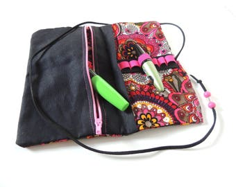 Case - colorful - pink - with zipper - Upcycling
