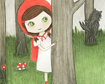 Red Riding Hood art print - watercolour children's painting