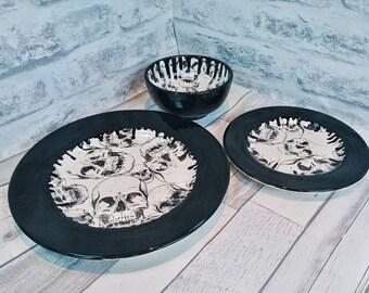 Skull dinner set, hand painted item, black skulls, ceramic plates, glazed bowl, set of 3, skull drip design