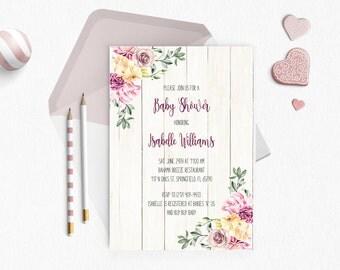 Baby Shower Invitation Girl - Vintage Flower Garden - Printable