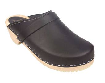 Swedish Clogs Classic Black Leather by Lotta from Stockholm / Wooden / Handmade / Scandinavian / Mules / Unisex / Men's / Women'd