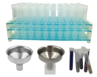 See and Find Beads Easily! Bead Organizer Storage Kit - 50 Bead Storage Tubes, Rack & Funnel for Pouring Beads  for Jewelry Beads Crafts