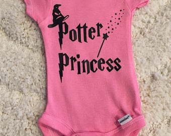 Pink Potter Princess Baby Onesie - Harry Potter, Harry Potter Onesie, Little Girl Onesie, Princess Onsie, Harry Potter, handmade, custom