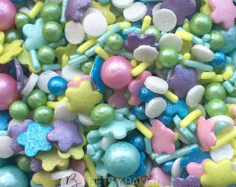 Sprinkletti Flower Power Mix, Pink, Blue, Violet, Turquoise, Mother of Pearl Glimmer Sprinkles. Edible Cake Sprinkles, Cupcake Decorations.