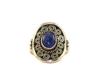 Vintage Oval Lapis Lazuli Bali Ring 925 Sterling Silver RG 286