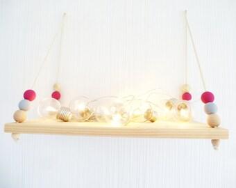 Wall shelf for nursery baby room in pink