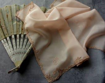 very nice old Silk handkerchief pink