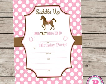 Pony Horse Fill In the Blank style Birthday Party Invitation Instant Download Horseback Riding Farm Pretty Pony Party Pink 5x7