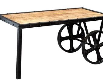 Cosmo industrial vintage cart on wheels coffee table - Metal + Wood