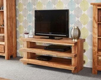 Metro modern 3 shelf tv unit - Blonde acacia hardwood - Rustic teak finish