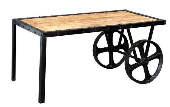 Cosmo Industrial Vintage Cart On Wheels Coffee Table Metal