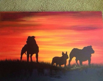 8x10 Breed/animal specific silhouette custom painting