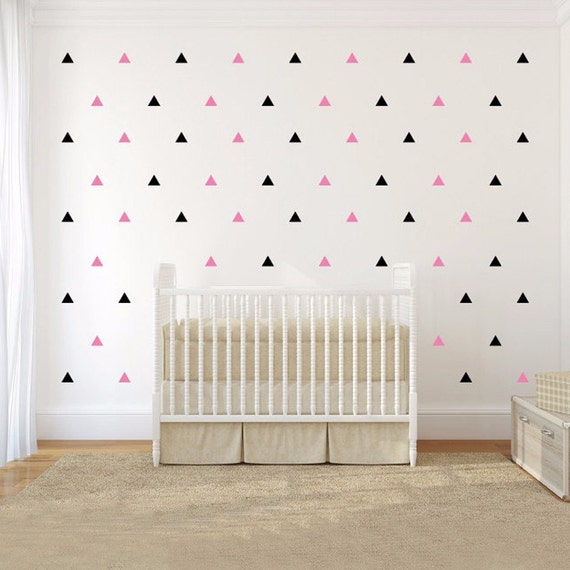 Nursery Decor Triangle Vinyl Wall Decal Sticker Set - Peel and Stick Set of 109 Triangle Stickers - Wall Pattern Decals - Vinyl Wall Decals