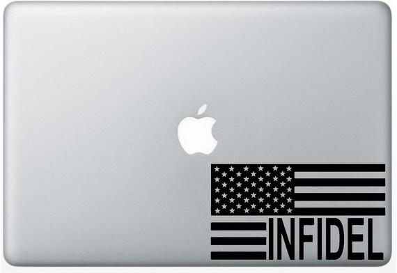 Vinyl Decal Sticker - American Flag Infidel decal for Windows, Cars, Laptops, Macbook etc