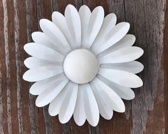 """White Enamel Daisy Flower Brooch Pin Vintage 3 1/4"""""""