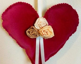 Decorative Shabby Chic Deep Rose Velvet Hanging Heart