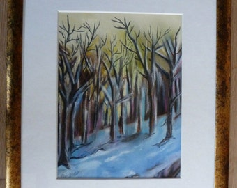 Pastel painting winter forest