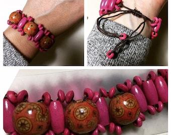 Pink Wooden Bracelet- Guatemalan Handmade!