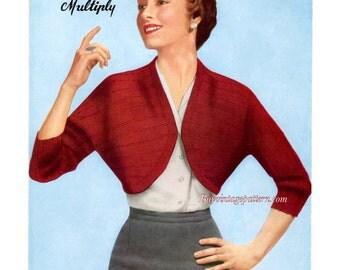 Vintage Bolero knitting pattern in PDF instant download version