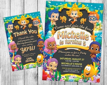 Bubble Guppies Invitation, Bubble Guppies Birthday, Bubble Guppies Invite, Bubble Guppies Party, Printables, Custom, FREE 4x6 Thank You Card