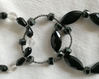 3 black glass beads / free delivery