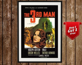 Third Man Movie Poster, Orson Welles, Classic Vintage Film Poster, Old Movie Art, Vintage Cinema, Vienna, Retro Movie Print, Movie Decor