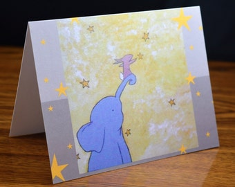 "Cute Animal Friendship Greetings Card (Blank Inside)- Elephant and Woodland Rabbit Note Card- Original Art Print:  ""Reach Out"""