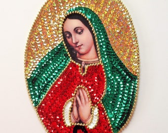 """Our Lady of Guadalupe Sequin Applique La Virgen de Guadalupe en Lentejuela 11""""X7.5"""""""