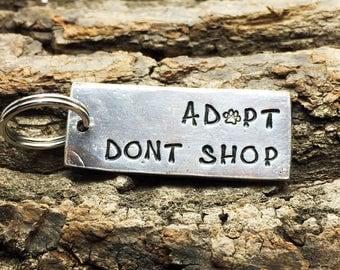 Adopt Don't Shop Hand Stamped Keychain, adopt dont shop keychain, rescue mom, dog mom, adopt, rescue dog, dog lover, dog lover gift, dog mom