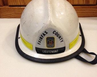 Vintage fireman Helmet.  Authentic fireman's helmet.  Lieutenant fireman helmet, Fairfax County firemans helmet, firemans collectibles.