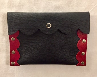 Handmade Leather Case/Wallet/Pouch - Black/Red