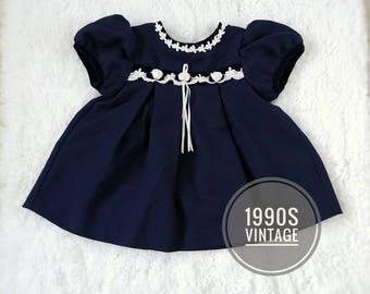 Vintage 90s dress, Rare Editions navy dress, navy baby dress, dark blue infant dress, 12 month blue 90s dress, 90s baby clothes