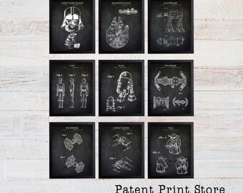 Star Wars Patent Prints. Star Wars Poster. Star Wars Art. Millenium Falcon. Darth Vader. Patent Art. Patent Print. Boy Bedroom. Nursery. 129