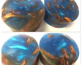 """Stabilized Wood Pine Cone and resin multicolor ear plugs 1"""" one inch"""
