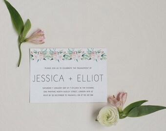 Printable Engagement Party Invitation - Pastel Floral Engagement Invite - Printable Download