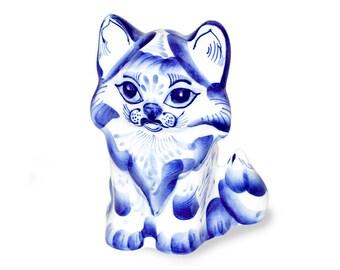 Ceramic Cat sculpture. Gzhel. Hand painting